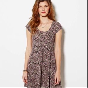 American Eagle Black Floral Skater Dress Sz Small